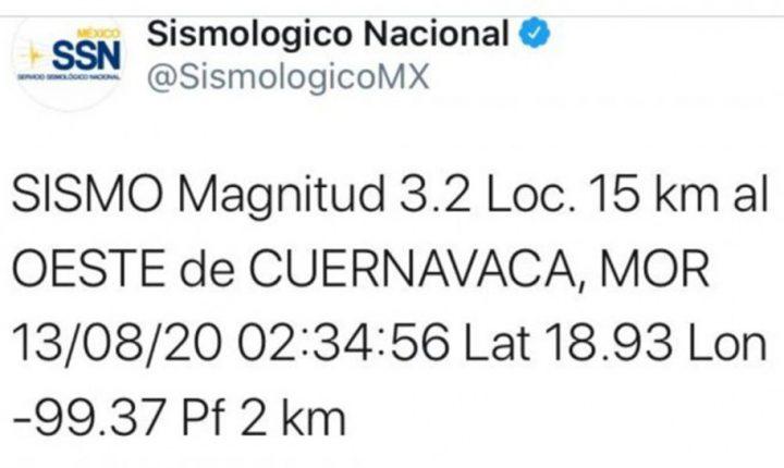 Registra Morelos sismo en la madrugada, a 15 kilómetros de Cuernavaca