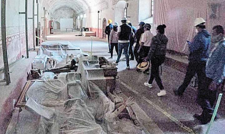 Supervisan avances en restauración del ex convento de San Juan Bautista de Tlayacapan